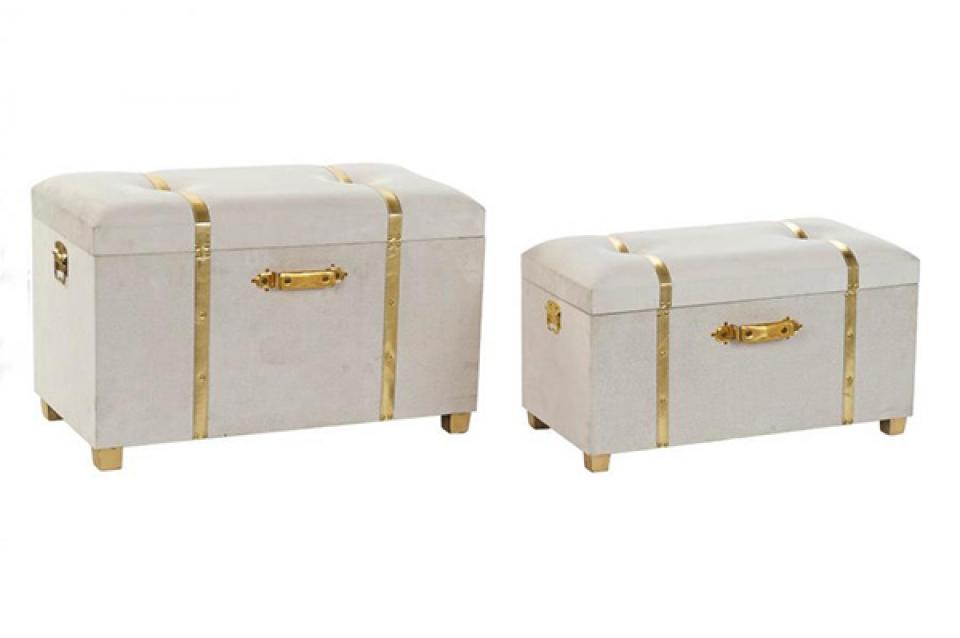 Set taburea velvet beige / 2 80x40x52
