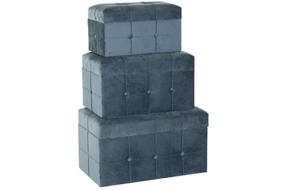 Set taburea velvet blue / 3 68x40x40