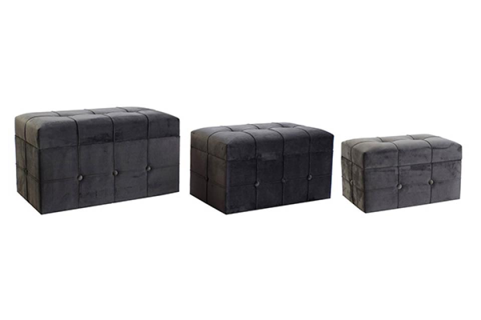 Set taburea velvet grey / 3 68x40x42