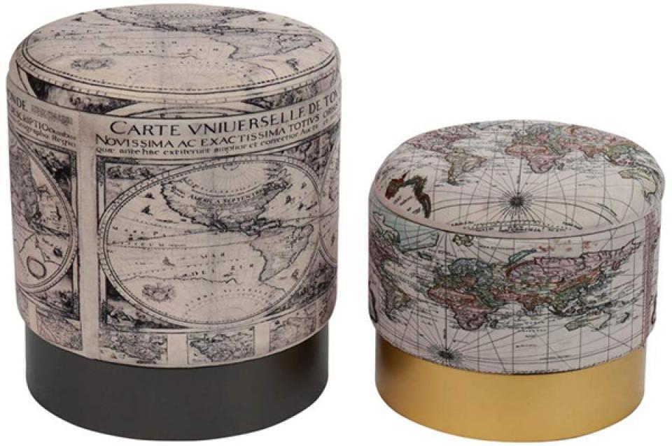 Set taburea world map / 2 40x40x44
