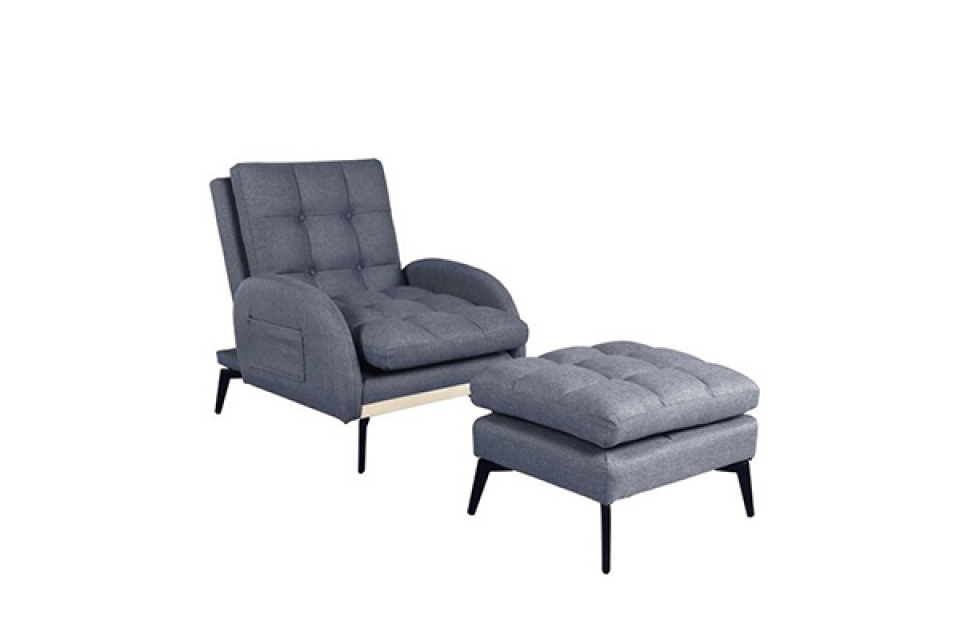 Siva fotelja na rasklapanje set / 2 74x85x91