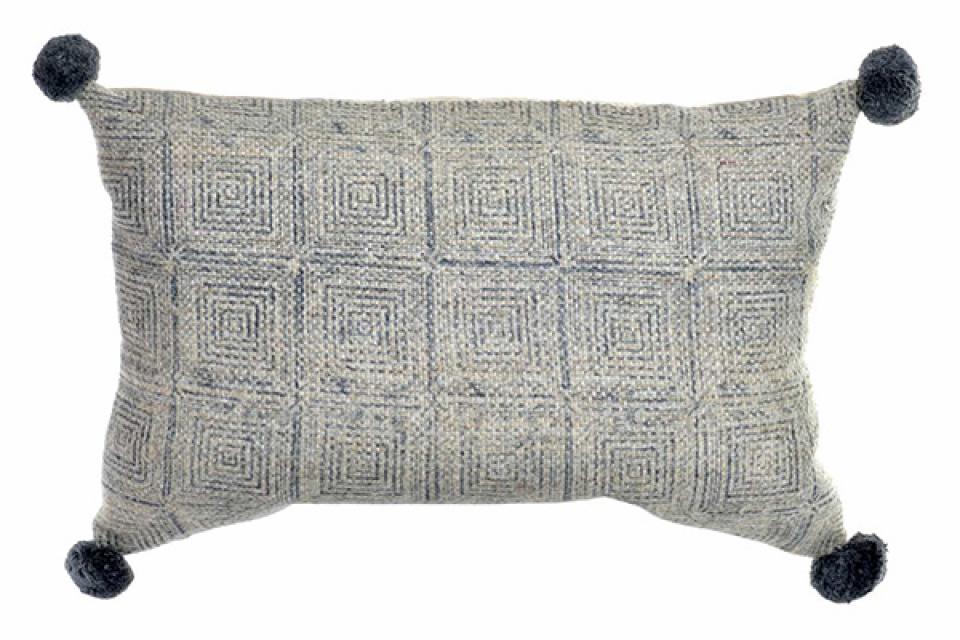 Sivi jastuk pompon 60x40 925 gr.