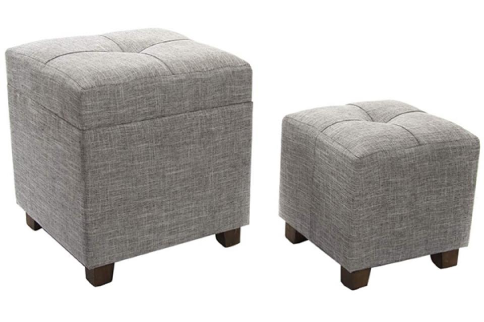 Sivi tabure set / 2 40x40x45
