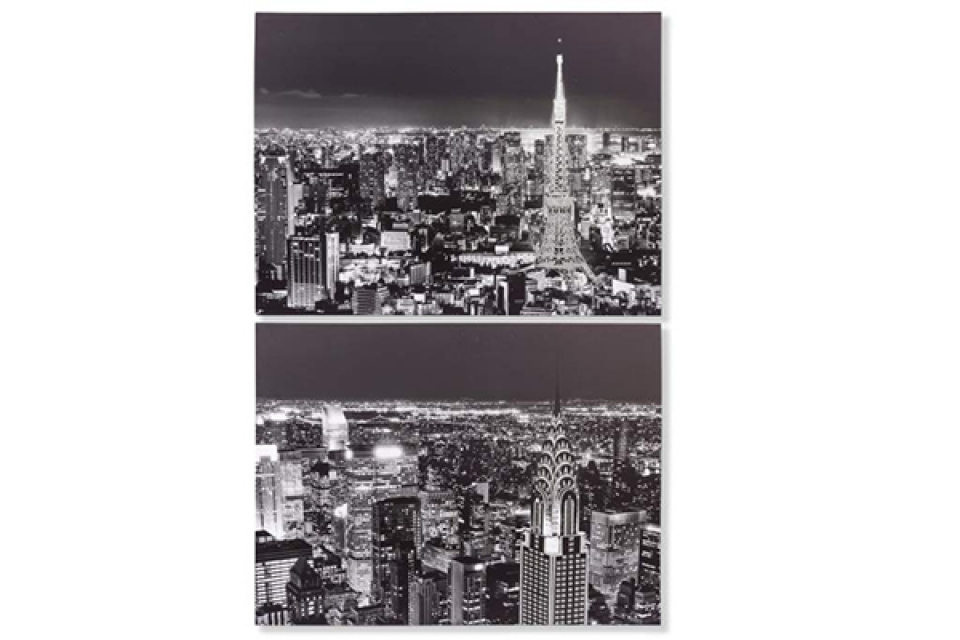 Slika city crno bela 80x60x4 2 modela