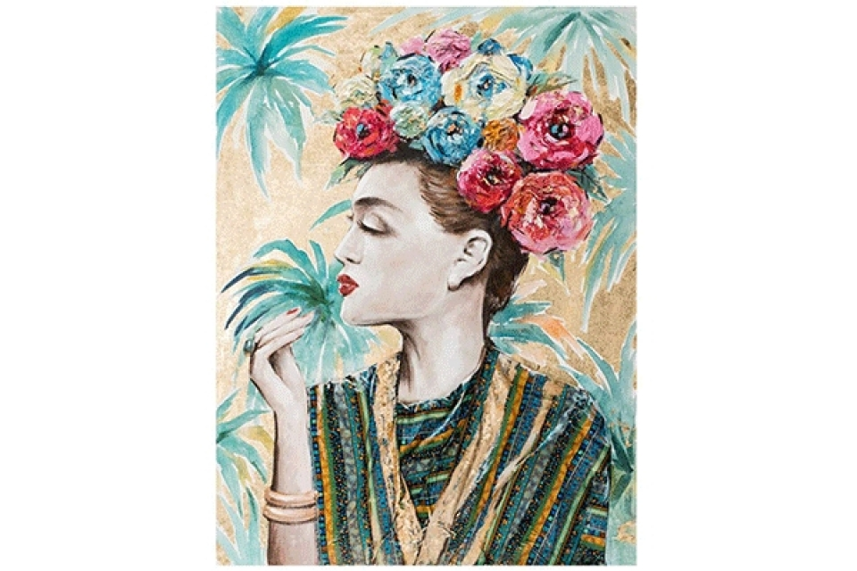 Slika frida flowers 90x3,8x120