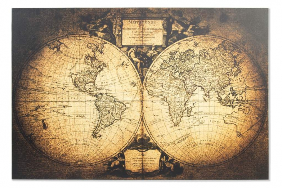 Slika world map 120x80x2,5