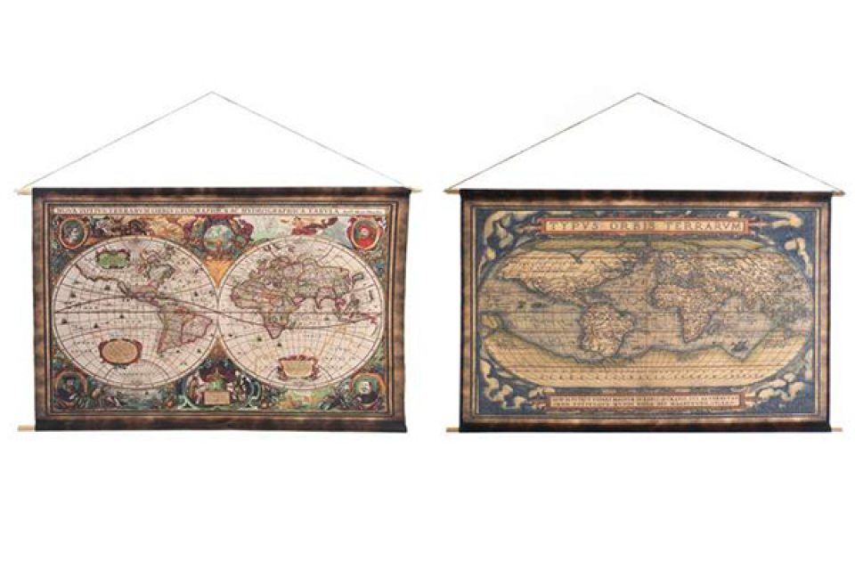 Slika world map aged 97x75 2 modela