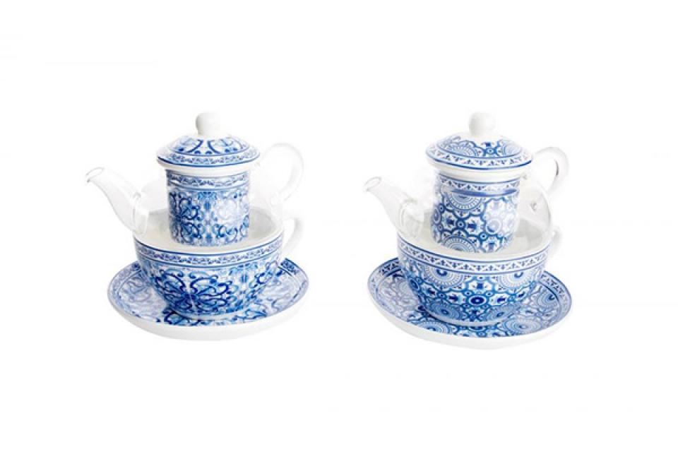 šolja i čajnik set ethnik blue 250 ml