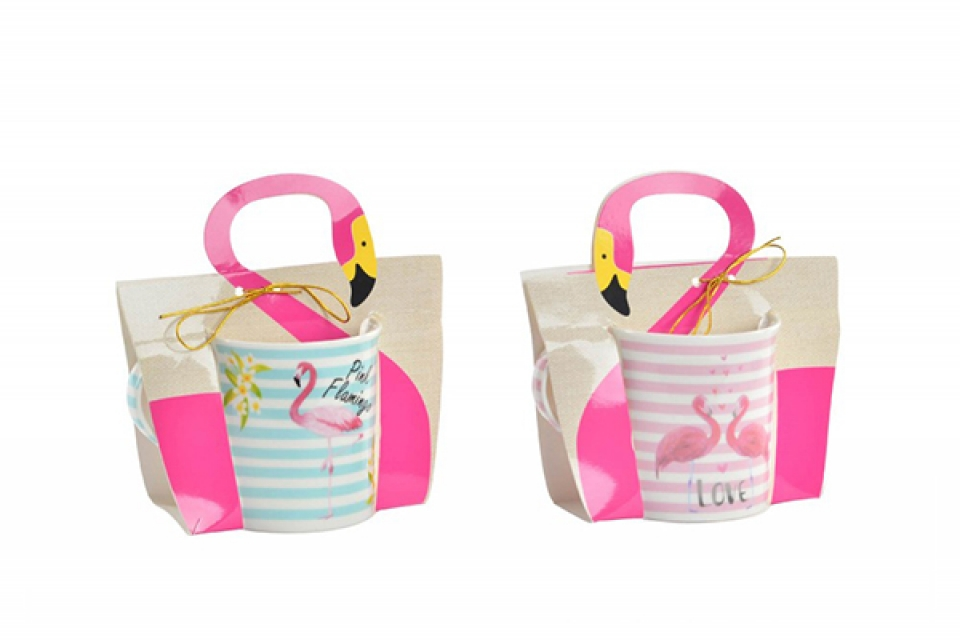 šolja pink flamingos 12x8,5x9 330 ml 2 modela