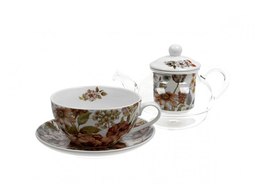 šolja sa čajnikom pastel flowers -white 255/330 ml