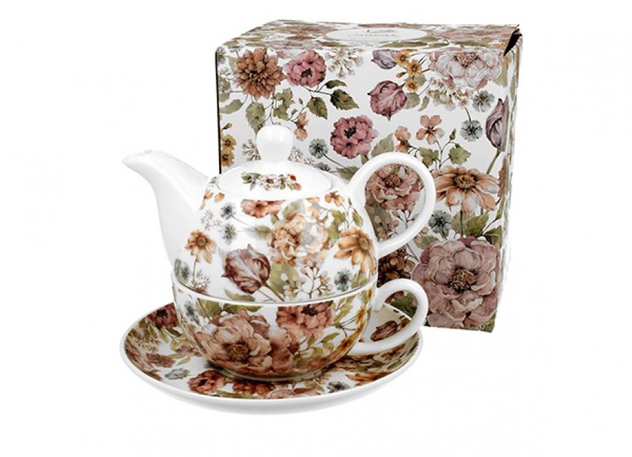 šolja sa čajnikom pastel flowers -white 310/350 ml