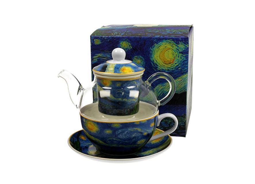 šolja sa staklenim čajnikom v.v. gogh starry night 255/330 ml