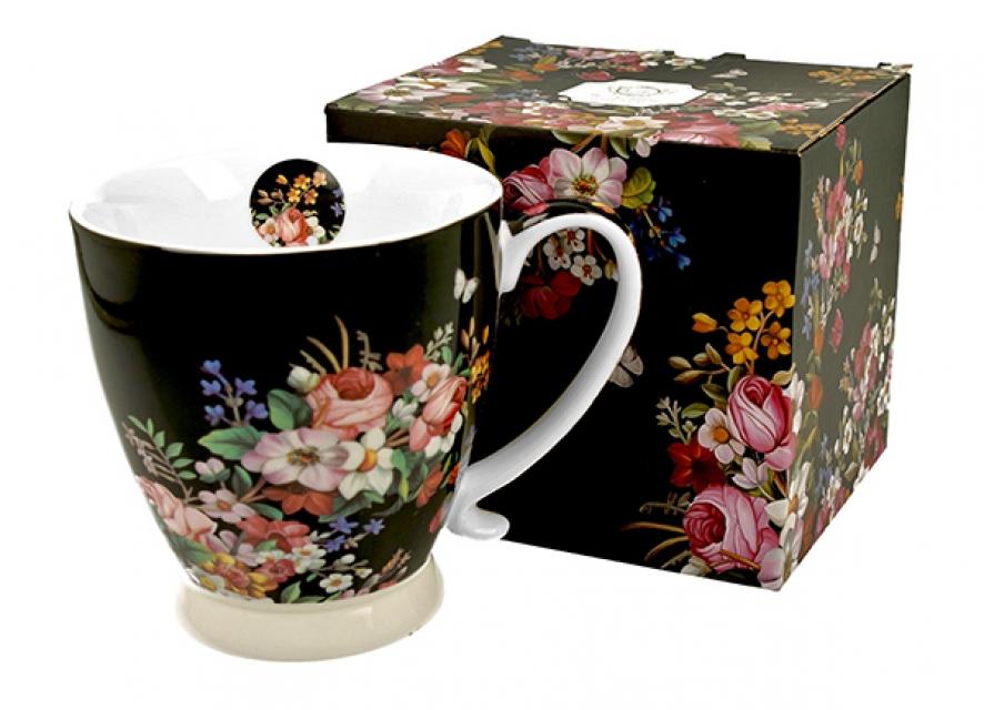 šolja sa stopom vintage flowers- black 480 ml