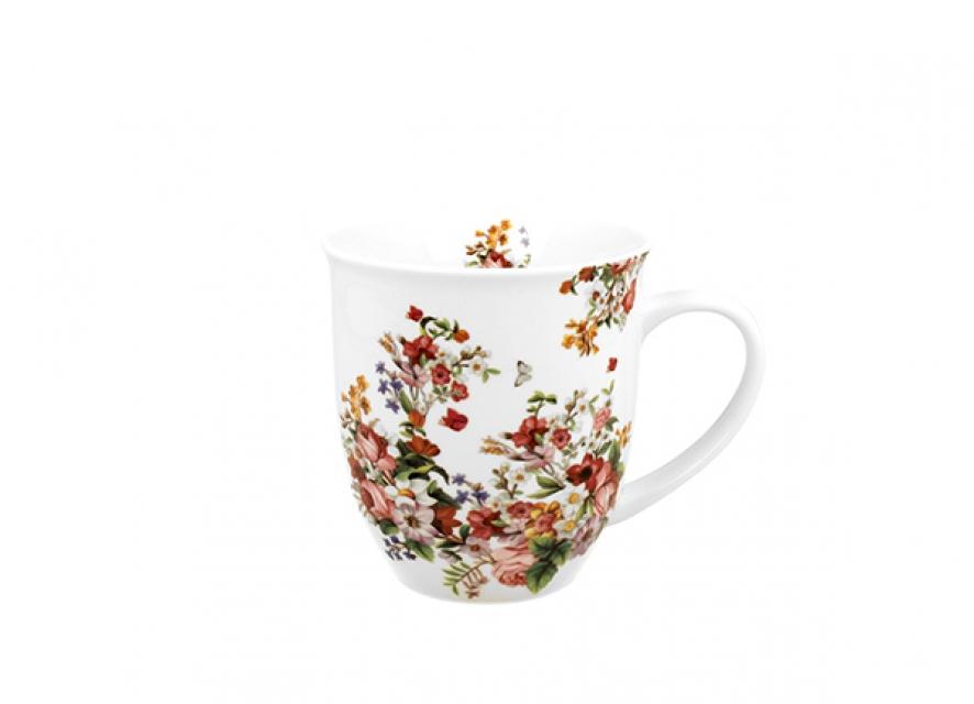 šolja vintage flowers - white 400 ml