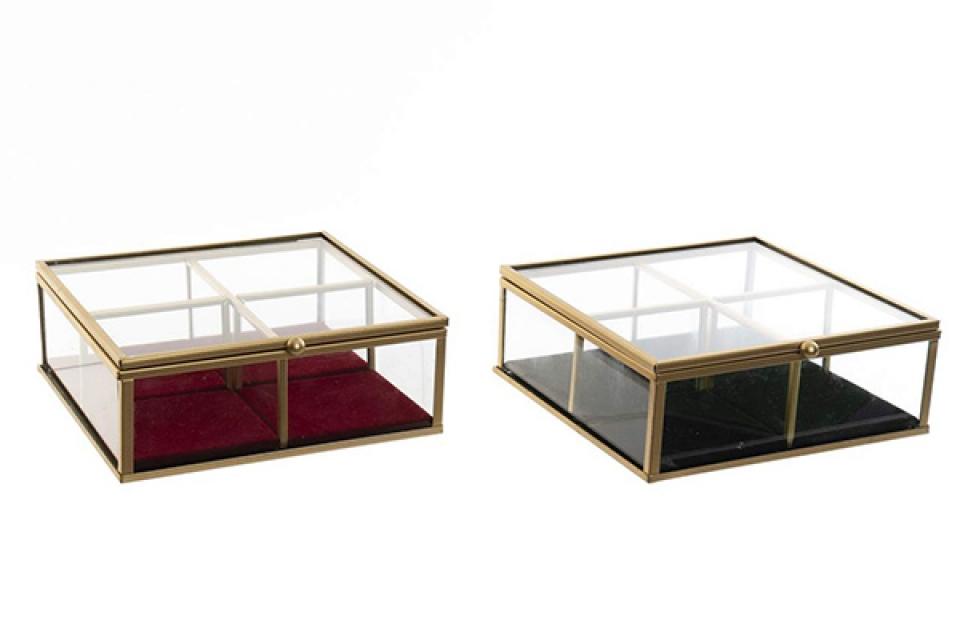 Staklena kutija za nakit 15x15x5,5 2 modela