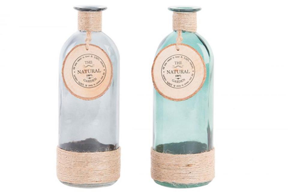 Staklena vaza flaša 7x20  2 boje