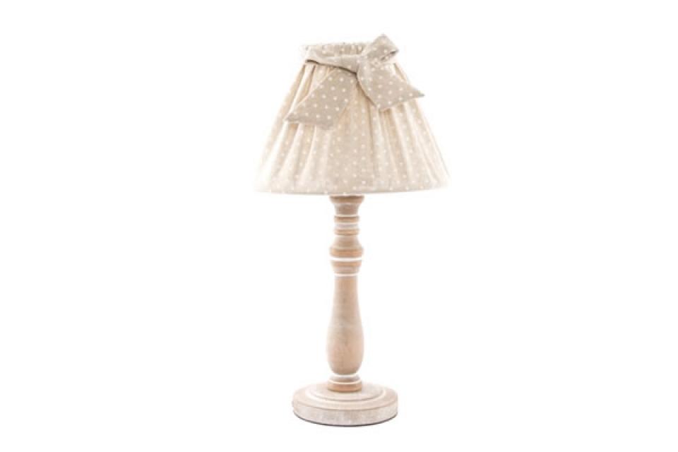 Stona lampa sa drvenim postoljem i platnenim abažurom