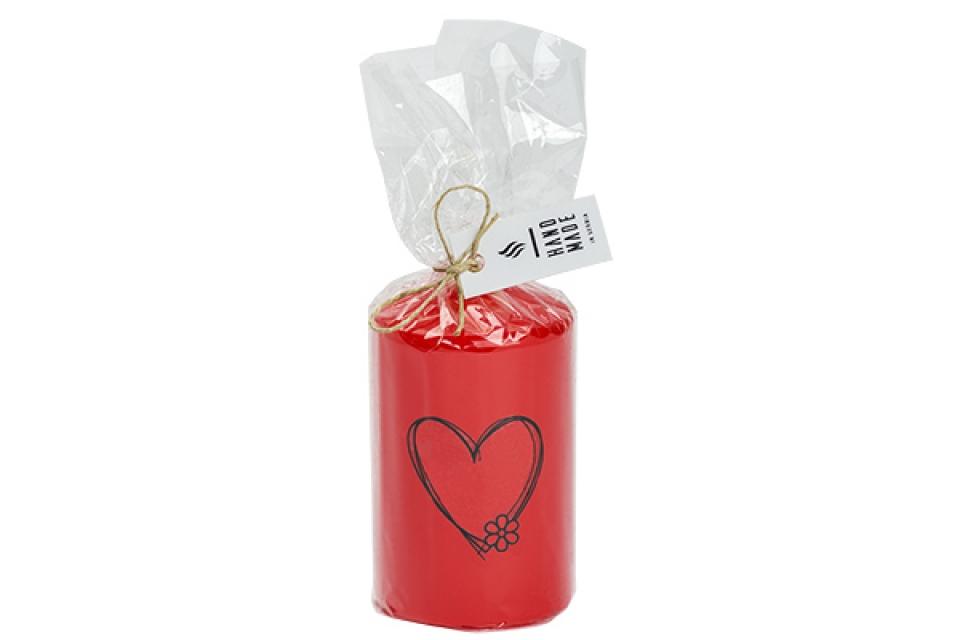 Sveca  valjak 6 x 10 -srce crvena