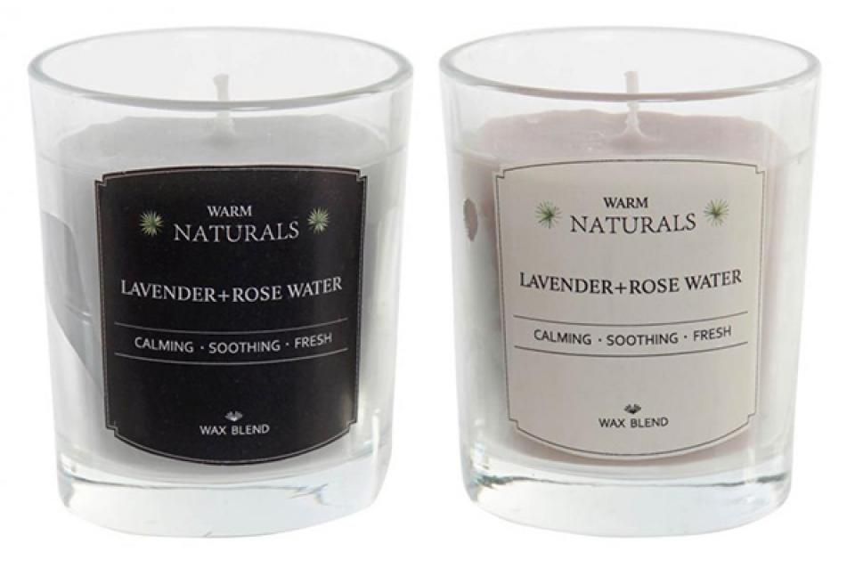 Sveća lavanda ruža 5,5x5,5x6,5 2 modela