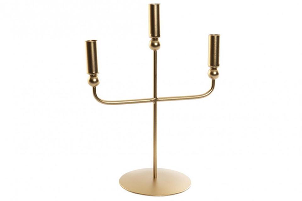 Svećnjak  3 arms matte golden 27x15x37