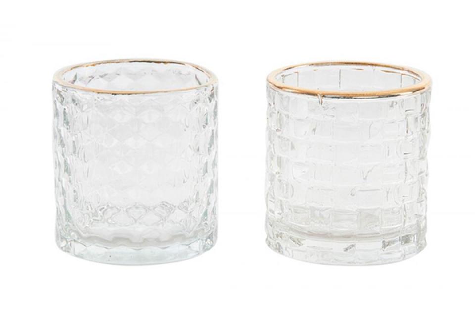 Svećnjak čaša sa zlatnim detanjima 7x7,5