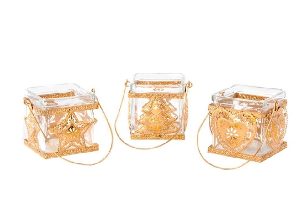 Svećnjak sa zlatnim detaljima 9,5x8x9 3 modela