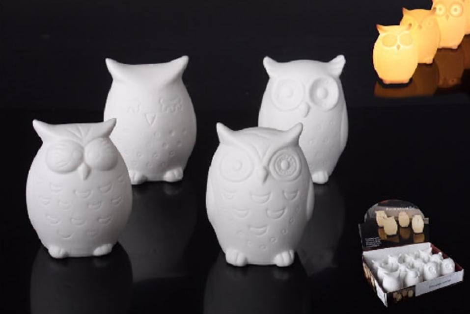 Svetleća dekoracija keramička sova