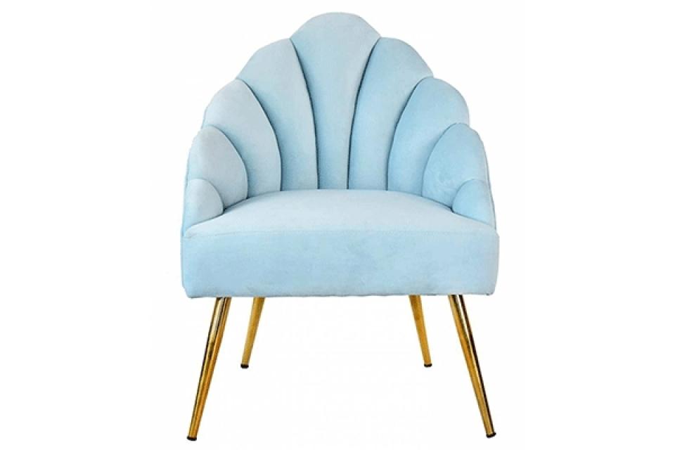Svetlo plava fotelja shell 64x55x89