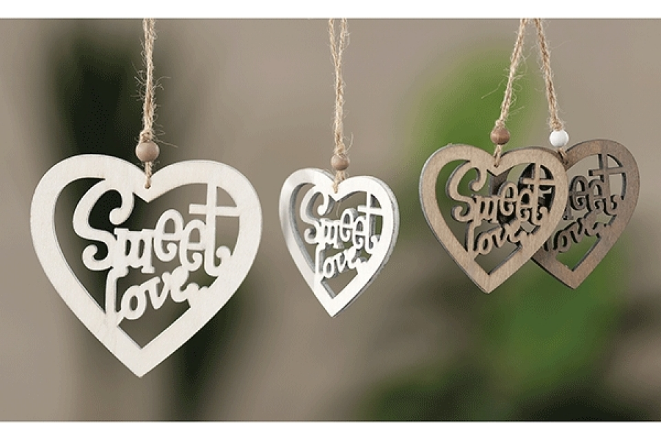 Ukras sweet love 8x12 cm 3 boje