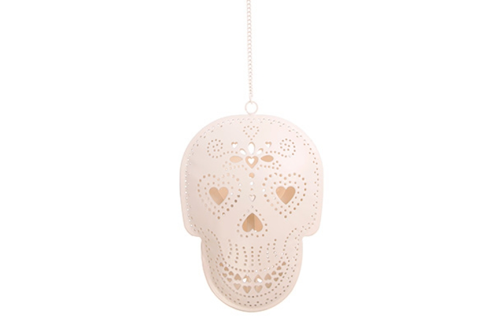 Viseća dekoracija metalna lobanja sa svećnjakom