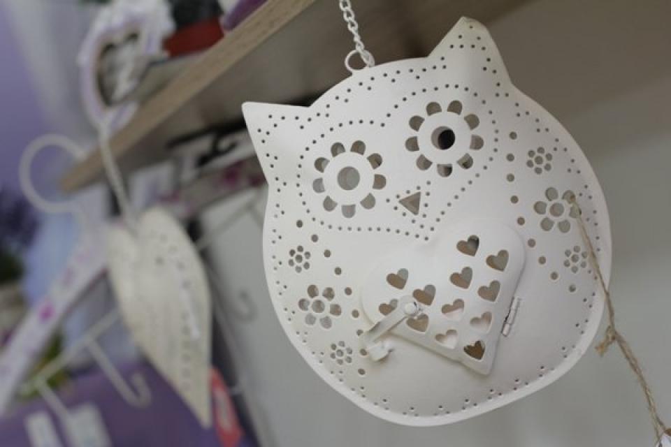 Viseća dekoracija metalna sova sa svećnjakom