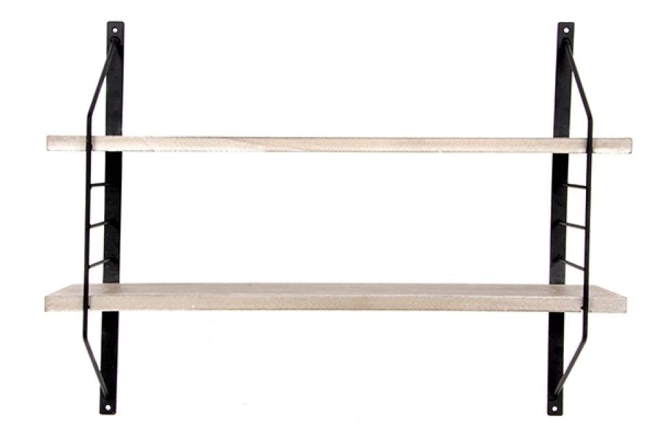 Zidna polica natur crna 60x14x45