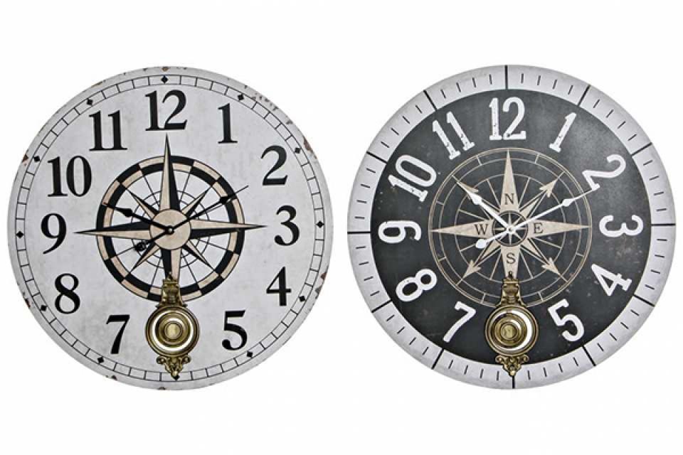 Zidni sat kompas 58x4x58 2 boje