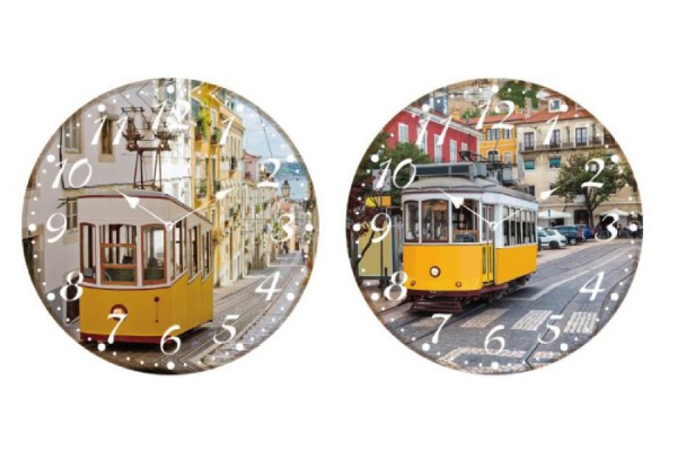 Zidni sat trolley 34 cm 2 modela