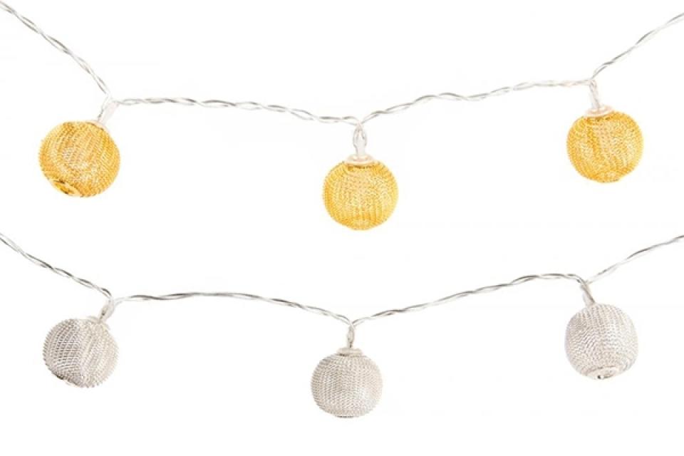 Zlatni i srebrni lampioni 130 cm 10 l 2 boje